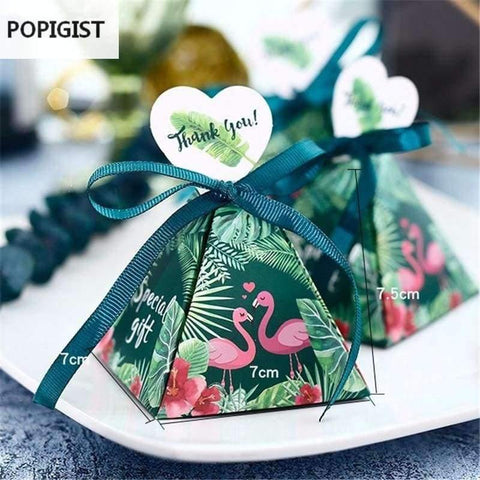 Beeld van die Planet Gates Feestelike & Party Supplies Floral Green Flamingo Driehoekige Piramide Wedding Gunstelinge Candy Boxes Bruids Douche Party Gift Box Bomboniera Giveaways Box