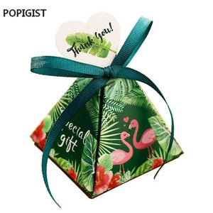 Flora Green Flamingo Triangulär Pyramid Hochzäit Favoriten Zucker Boxen Braut Dusche Party Gift Box Bomboniera Giveaways Box