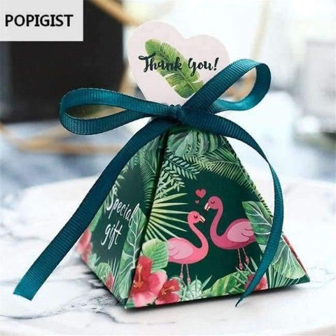 Image of Planet Gates Festivals & Party Supplies Blum Gréng Flamingo Triangulär Pyramid Hochzäit Liwwerungen Candy Boxes Braut Dusche Party Gift Box Bomboniera Giveaways Box