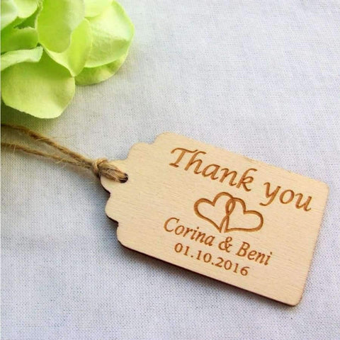 65/200pcs Personalized Engraved Thank You Wedding Tags Wooden Tags Wedding  Favor Tags Rustic Wedding Bridal Shower Favor Tags