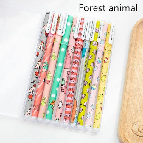Planet Gates Forest animal set 10 pcs Black ink pens Classical flower Starry star ballpoint pen for writing signature Stationery Office