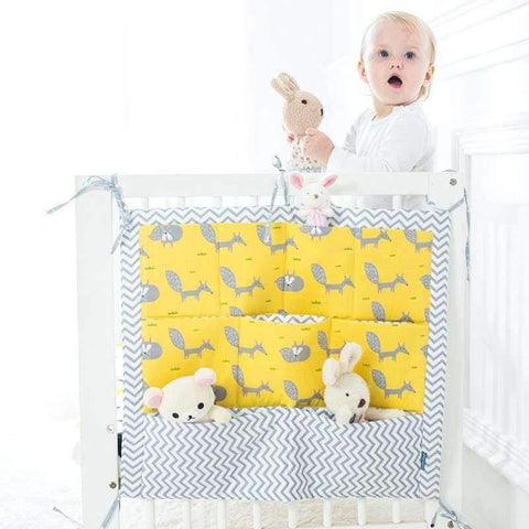 Image of Planet Gates Fox Baby Bed Hanging Storage Bag Cotton Crib Organizer For Newborn Baby Bedding Set Cartoon Pattern Baby Cot Toy Diaper Pocket