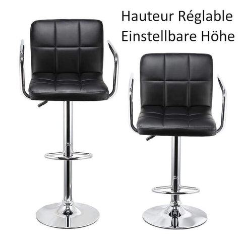 Planet Gates France / Black JEOBEST 2Pcs Synthetic Swivel Bar Stools Stainless Steel Adjustable Height Chairs with Footrest Barstool Chair DE FR Stock HWC