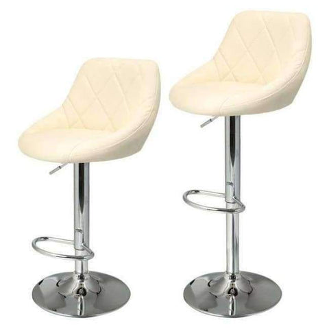Planet Gates Germany / Rice White Homdox 2pcs Synthetic Adjustable Swivel Bar Stool Stainless Steel  Pneumatic Stent Chair 3 Colors N50