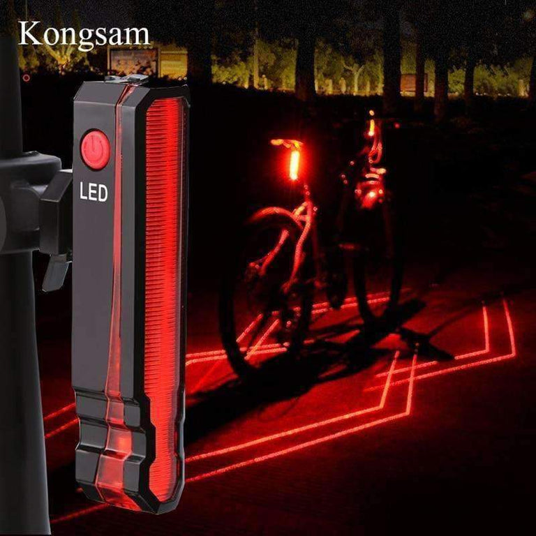 Retro Bicycle Bike Rear LED Indicator Red Light Cable Holder Taillight Lamp  RQE