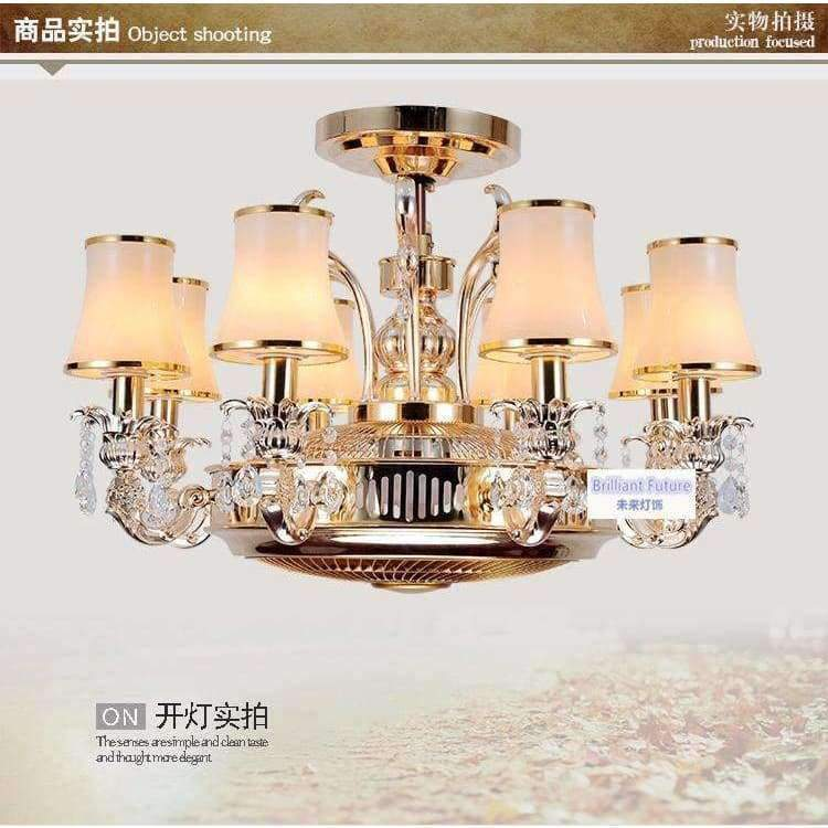 Planet Gates Glass lampshade Ceiling fans Anion stealth fan lamp fan light LED zinc alloy crystal european-style remote control lamps 8 Heads ceiling fan