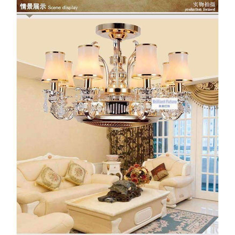 Image of Planet Gates Glass lampshade Ceiling fans Anion stealth fan lamp fan light LED zinc alloy crystal european-style remote control lamps 8 Heads ceiling fan