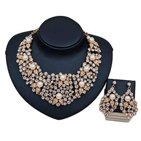 Planet Gates gold color LAN PALACE new arrivals colorful necklace jewelry set simulated pearl necklace and earrings for wedding  free shipping