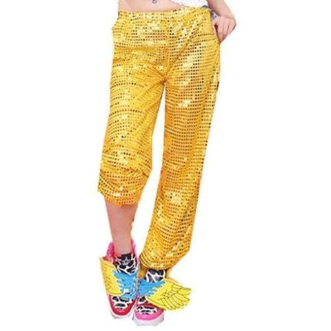 Image of Planet Gates gold pants / S Adult Jazz Hiphop Modern Dance Wear Paillette Stage Performance Clothing woman sequins Cheerleading dance costuems