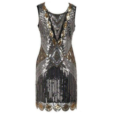 Planet Gates Gold / S Beading Vintage Flapper Dresses Roaring 1920s Gatsby Themed Party Dress  Girl Loose Type Sleeveless Event Dress