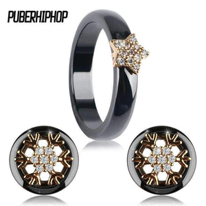 Planet Gates Gold Set / 6 Lovely Gold Color Star Ceramic Rings Round Flower Stud Earrings For Women Bling Crystal CZ Wedding Engagement Jewelry Set Wholes