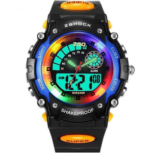 Planet Gates gold with gift box ZGO Fashion Kids Watch for Boys Girls Led Display Quartz Electronic Digital Child Wristwatch Children Watches With Box Relogio
