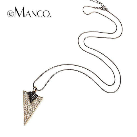 Planet Gates golden eManco rhinestone Triangle pendants Fine Snake Chain long statement necklace  vintage women necklace silver jewelry NL07646