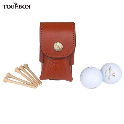 Planet Gates Golf Ball Bag Tee Holder Holds 2 Balls Divot Tool Holder Retro Genuine Leather Pouch