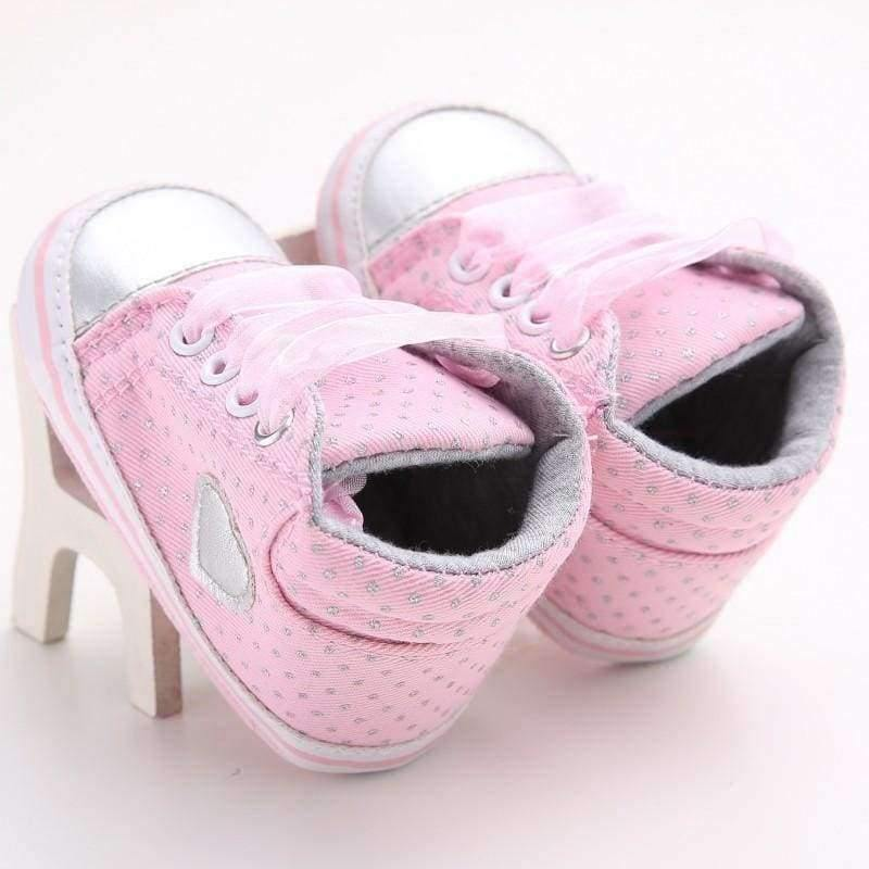 Planet Gates Gray / 1 Pink Polka Dot Cotton Soft Sole Baby Shoes Lace-up Spring/Autumn First Walkers Newborn Infant Toddler Crib Girl Shoes Wholesale