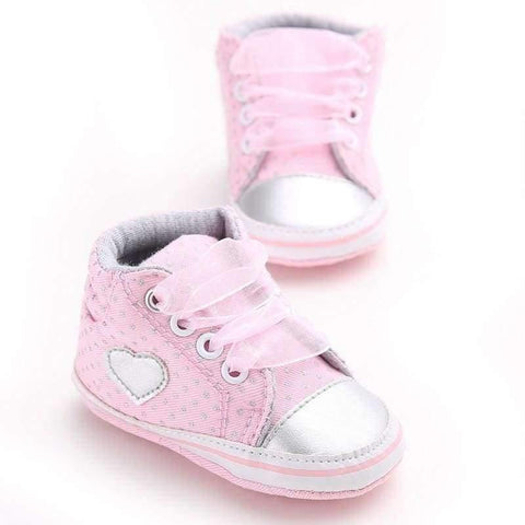 Image of Planet Gates Gray / 1 Pink Polka Dot Cotton Soft Sole Baby Shoes Lace-up Spring/Autumn First Walkers Newborn Infant Toddler Crib Girl Shoes Wholesale