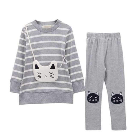 Image of Planet Gates Gray / 6 Autumn Winter Girls Clothes Set Teenage Girls Clothing Sets Strip T-Shirt+Pant 2pcs Kids Girl Sport Suit Children Clothes