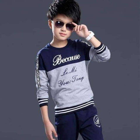 Image of Planet Gates Gray / 6 Spring autumn teenage boys clothing sets sport casual suit kids clothing fashion Tops + Pants 2pcs children tracksuit 4-14Y