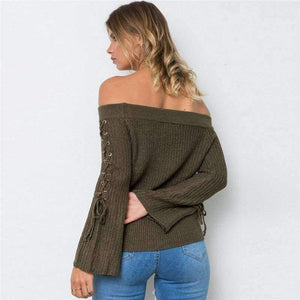 Sexy Off Shoulder Knitting Pullovers Fashion Lace Up Long Sleeve Autumn Winter Sweater Women Casual Jumpers Pull Femme