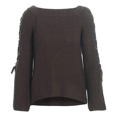 Planet Gates Gray Blue / One Size Sexy Off Shoulder Knitting Pullovers Fashion Lace Up Long Sleeve Autumn Winter Sweater Women Casual Jumpers Pull Femme