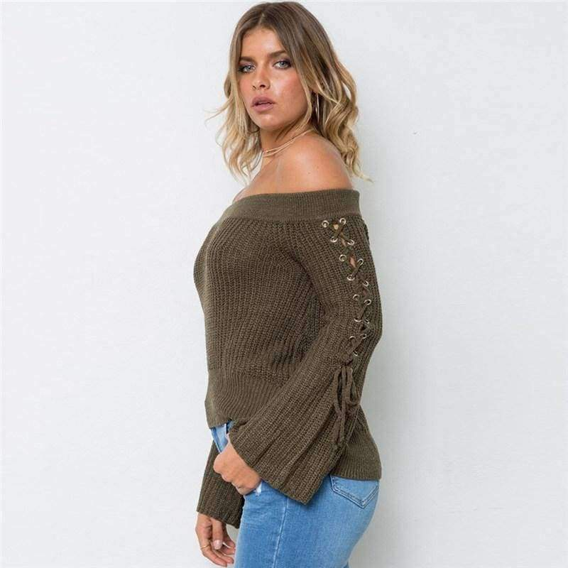 ... Sexy Off Shoulder Knitting Pullovers Fashion Lace Up Long. Tap to expand f6d2042d4