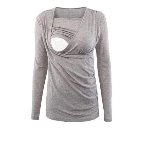 Image of Planet Gates gray color / L Moms Nurse Long Sleeve Maternity Clothes COTTON Pregnancy Nursing Top Breastfeeding tops for Pregnant Women maternity T-shirt