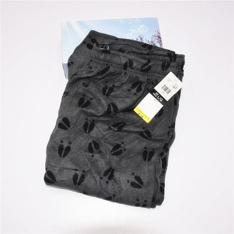 Planet Gates Gray feet / XL Velvet Fleece Lounge Pants High Waist Trousers Pajama Pants Double Pocket Men Sleep Bottoms