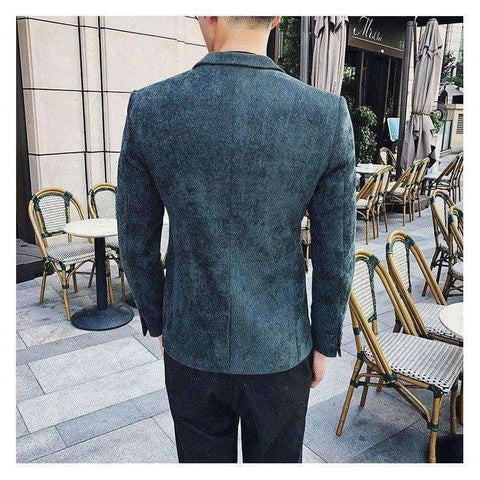 Planet Gates Gray / M Corduroy Blazer Men Slim Fit Green Khaki Grey 2018 Male Blazer Suit Jacket Gold Embroidery Terno Masculino Korean Men Blazer