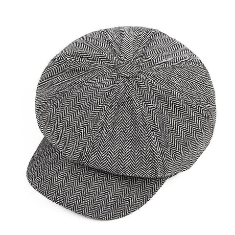 Image of Planet Gates gray Men's Panel Tweed Newsboy Caps Format fitting Driving Hat Khaki Gray