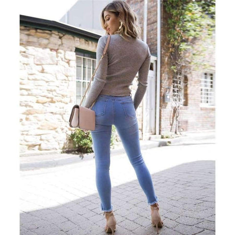 Planet Gates Gray / One Size Sexy Criss-Cross V neck Knitted Sweater Women Long Sleeve Winter 2018 Pullovers All match Streetwear jumper pull femme