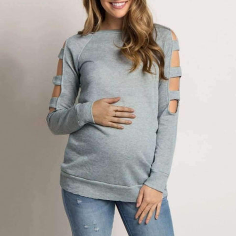 Image of Planet Gates Gray / S / China Women clothing Round Neck Pure Loose Maternity ClothesLong Sleeve Top Blouse Shirt ropa de mujer pregnancy Nursing