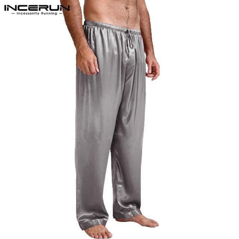 Planet Gates Gray / S Silk Satin Pajamas Sleep Bottoms Pyjamas Loose Lounge Pants Casual Leisure Lantern Pants Plus Size S-3XL