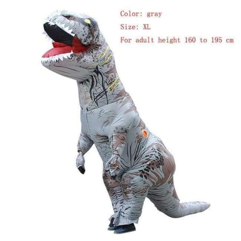 Planet Gates gray size XL / T REX Adult  T-REX Inflatable Costume Christmas Cosplay Dinosaur Animal Jumpsuit Halloween Costume for Women Men