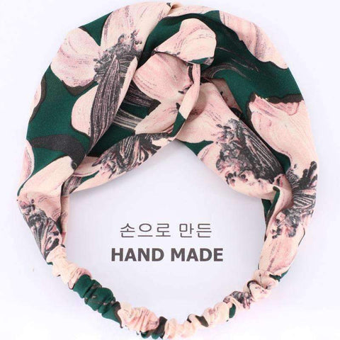 Image of Planet Gates green 1 COKK Sweet Rose Flower Headband Hair Accessories For Women Wide Hairband Turban Hair Bow Headwear Elastic High Quality Summer