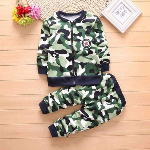 Image of Planet Gates green / 2T Children Boys Winter Warm Woolen Outerwear Jack Coat Pants Girls Clothing Set Baby Kids Hoody Trousers Camouflage Tracksuit