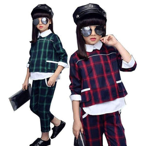 370fafcd57b8e Planet Gates Green / 5 enfants filles vêtements ensembles automne adolescente  sport costume à carreaux costume ...