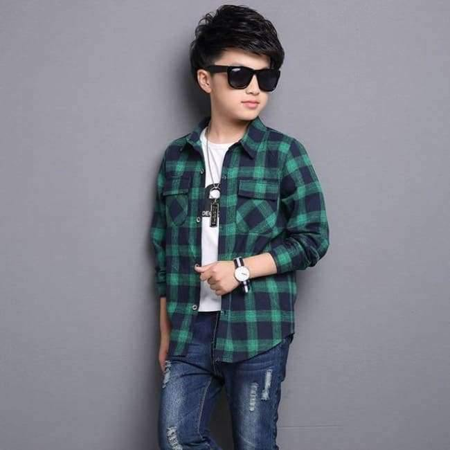 Planet Gates Green / 5 Kids Shirts for Boys Long Sleeve Plaid Tops Autumn Children Clothing Teenage Casual Blouses Plus Size Infant Shirt 9 12 14 Years