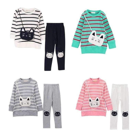 Image of Planet Gates Green / 6 Autumn Winter Girls Clothes Set Teenage Girls Clothing Sets Strip T-Shirt+Pant 2pcs Kids Girl Sport Suit Children Clothes