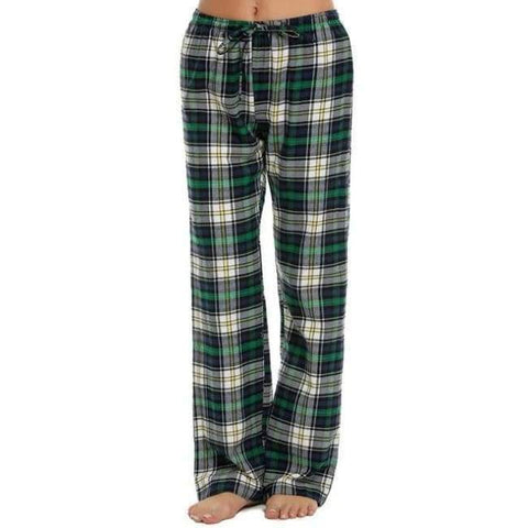 Image of Planet Gates green / L Women Cotton Sleep Bottoms Elastic Waist Plaid Long Pajama Bottom Lounge Pants Plaid Casual Loose Home Clothing S-XXL