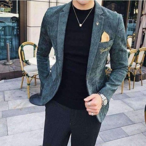 Planet Gates Green / M Corduroy Blazer Men Slim Fit Green Khaki Grey 2018 Male Blazer Suit Jacket Gold Embroidery Terno Masculino Korean Men Blazer