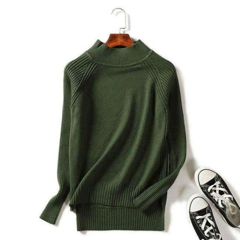 Planet Gates Green / One Size Women turtleneck sweaters knitted pullovers long sleeves basic irregular tricots autumn winter wool tops warm loose All Match
