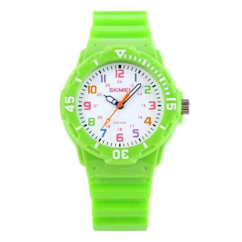 Planet Gates Green SKMEI Fashion Children Watches 50M Waterproof Quartz Wristwatches Jelly Kids Clock Hours Boys Girls Junior Students Sport Watch