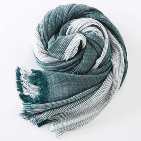 Planet Gates green Winter Scarf Women and Men Striped Cotton Linen Scarfs Vintage Oversized Shawls and Scarves
