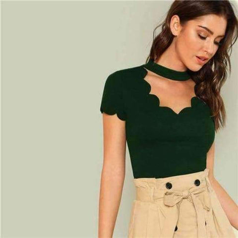 Planet Gates Green / XS Green Elegant Mock Neck Scallop Trim Tee Cut Out V Collar Solid Tee Summer Women Weekend Casual T-shirt Top