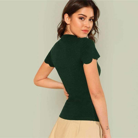 Green Elegant Mock Neck Scallop Trim Tee Cut Out V Collar Solid Tee Summer Women Weekend Casual T-shirt Top