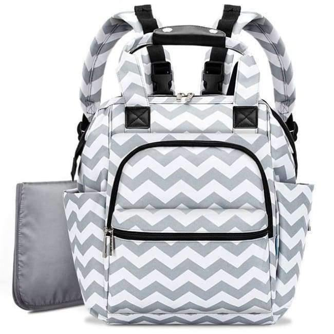 Planet Gates Grey Wave Fashion Diaper Bag Baby Bag Waterproof Lightweight Multifunctional Mom Backpack Maternity Bag for Baby Care