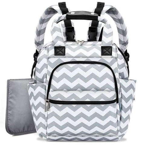Image of Planet Gates Grey Wave Fashion Diaper Bag Baby Bag Waterproof Lightweight Multifunctional Mom Backpack Maternity Bag for Baby Care
