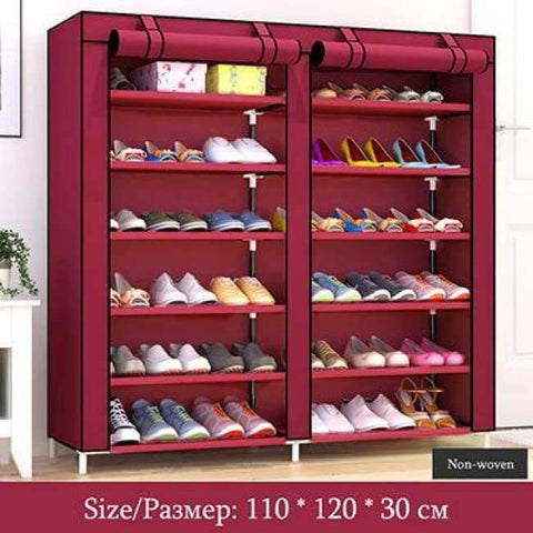 Planet Gates HH341900CS3 / China Large Capacity Shoes Storage Cabinet Double Rows Shoes Organizer Rack Home Furniture DIY Dust-proof Shoes Shelves Space Saver