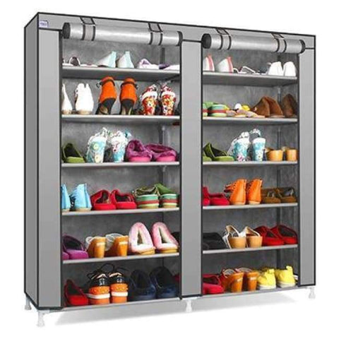 Planet Gates HH341900CS5 / China Large Capacity Shoes Storage Cabinet Double Rows Shoes Organizer Rack Home Furniture DIY Dust-proof Shoes Shelves Space Saver
