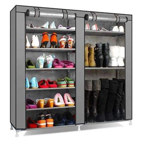 Planet Gates HH341900CS6 / China Large Capacity Shoes Storage Cabinet Double Rows Shoes Organizer Rack Home Furniture DIY Dust-proof Shoes Shelves Space Saver